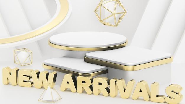 Neuheiten drei luxuriöse weiß- und goldpodeste in verschiedenen höhen präsentieren ihre produkte.