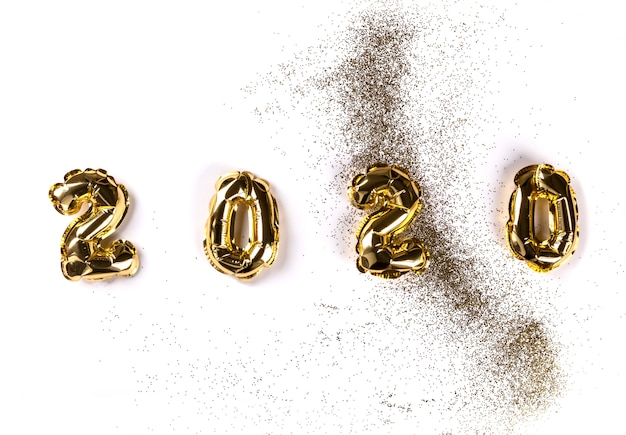 Neujahr 2020 flat lay zusammensetzung