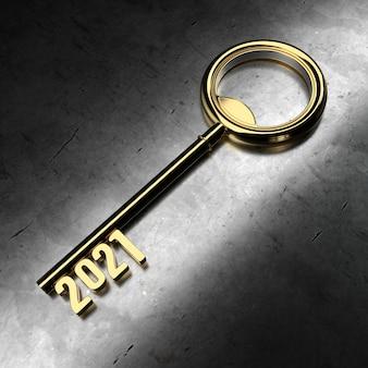 Neujahr 2021 mit goldenem schlüssel - 3d-rendering