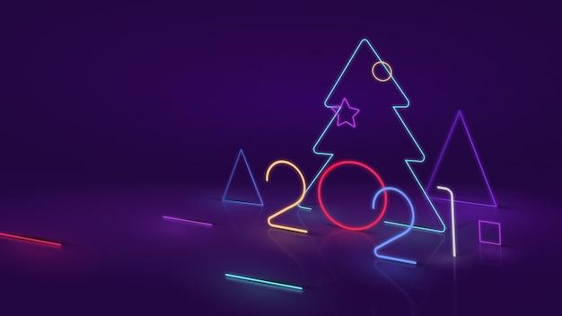 Neujahr 2021. moderner baum und nummer 2021 auf neon- oder led-effekt