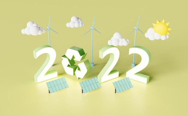 Neujahr 2022 schild mit sonnenkollektoren windkraftanlagen und recyclingsymbol