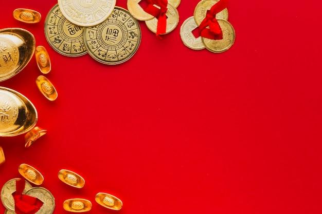 Neujahr chinesisches 2021 geld und kopierraumhintergrund
