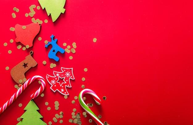 Neujahr oder weihnachtsdekoration flach lag draufsicht