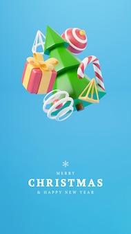 Neujahr und weihnachten 3d-design. realistische geschenkbox, weihnachtstannenbaum, ball, süßigkeiten und dekorative elemente. 3d-renderbild von weihnachtsferien