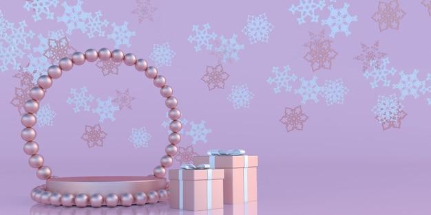 Neujahrs-mockup-banner roségold-geschenkbox mit schleifenband abstrakte fliegende schneeflocken mit podium