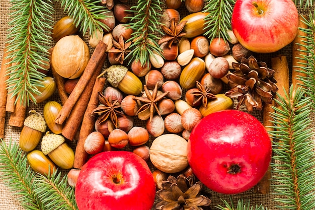 Neujahrs- und weihnachtshintergrund aus natürlichen bio-zutaten - nüsse, äpfel, anis, zimtstangen. das konzept der neujahrsfeiertage.