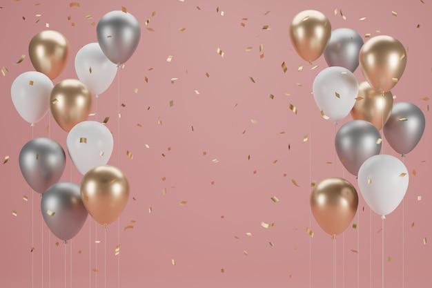 Neujahrsballon und konfetti.banner-design. 3d-illustration