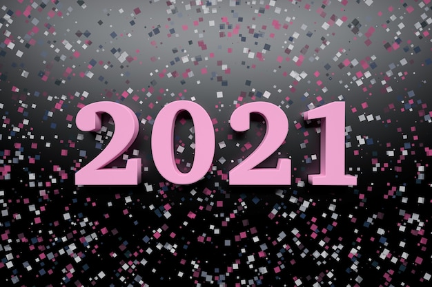 Neujahrsfeier-grußkarte mit kühnen rosa 2021-jahreszahlen auf dunkler oberfläche mit zufälligen glitzerkonfetti