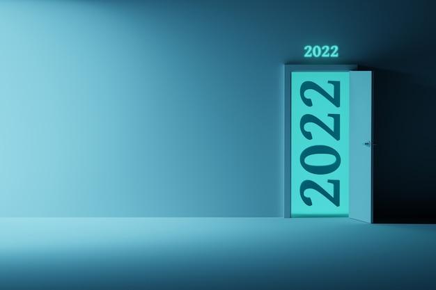 Neujahrsgrußkarte mit geöffneter tür und 2022 zahlen und leerer leerer wand