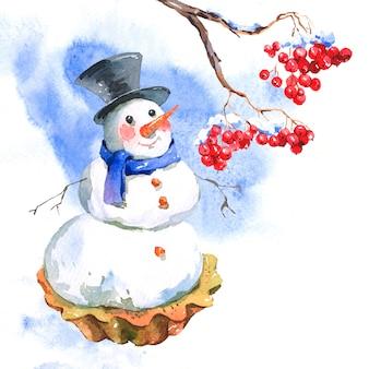 Neujahrskarte mit schneemann cupcakes