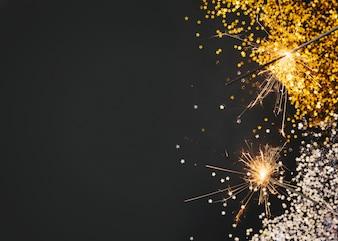 Neujahrskomposition mit platz auf der linken seite