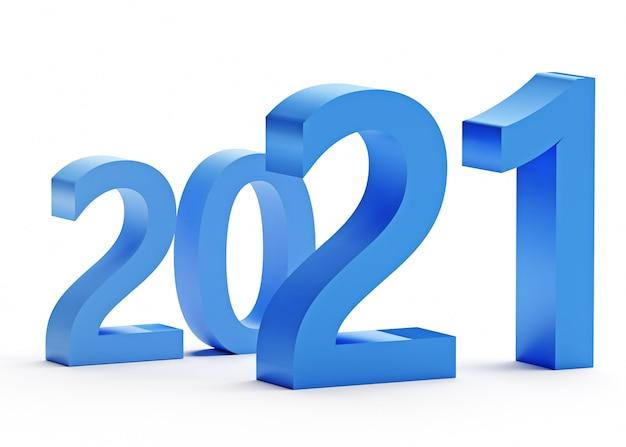 Neujahrskonzept. blaue zahlen 2021 isoliert auf weiß