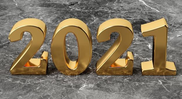Neujahrskonzept goldene zahl auf marmorhintergrund