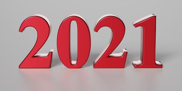 Neujahrskonzept. rote nummer 2021 auf grauem hintergrund. 3d-rendering