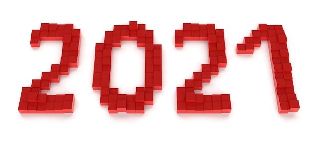 Neujahrskonzept. rote nummer 2021 auf weißem hintergrund