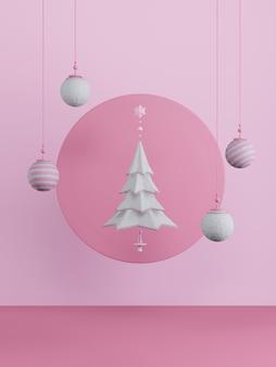 Neujahrskonzept. satz bunte weihnachtskugeln und weißer baum auf rosa hintergrund.