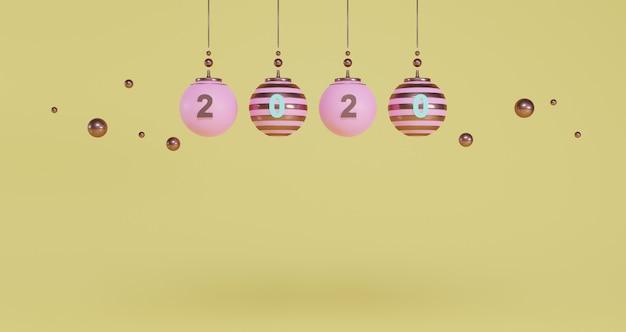 Neujahrskonzept. satz rosa weihnachtskugeln und 2020-zahl zum ändern des jahres auf gelbem hintergrund.