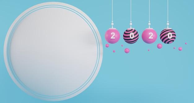 Neujahrskonzept. satz rosa weihnachtskugeln und 2020-zahl zum ändern des jahres auf leerem kreishintergrund.
