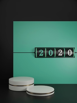 Neujahrskonzept. schwarzer schlitzhintergrund der 2020-zahl zum ändern des jahres und des weißen sockels auf grünem und lava-rotem hintergrund.