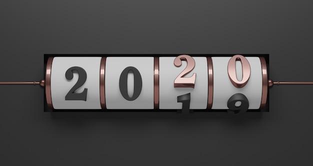 Neujahrskonzept. weißer schlitzhintergrund der rotgold 2020-zahl für das ändern des jahres auf schwarz