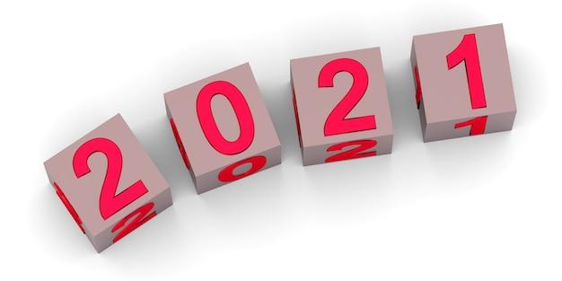 Neujahrskonzept würfel mit der nummer lokalisiert auf weiß Premium Fotos