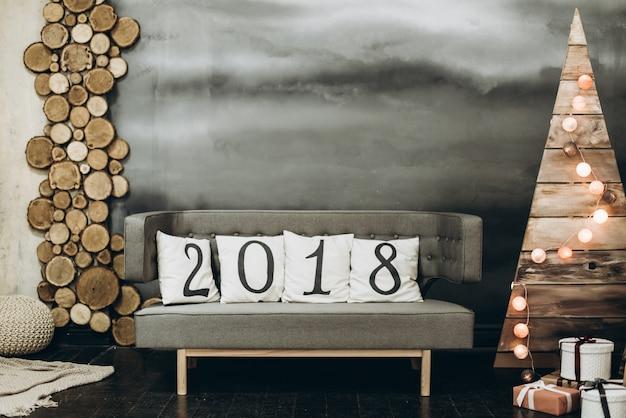 Neujahrslandschaft 2018. weihnachten und neujahr konzept