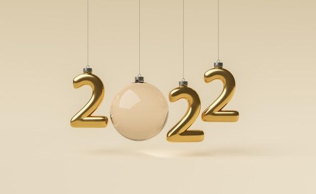 Neujahrsschild 2022 mit goldenem weihnachtsschmuck