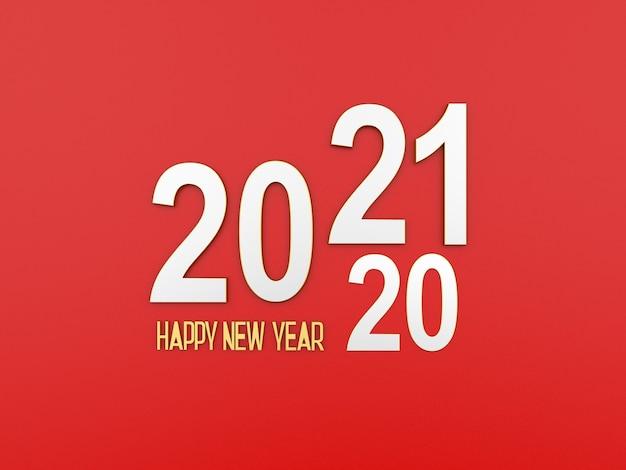 Neujahrstext 2021 und 2020 auf rotem hintergrund