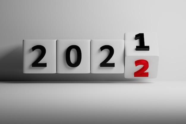 Neujahrswechselillustration mit vier würfeln und zahlen 2021 und 2022