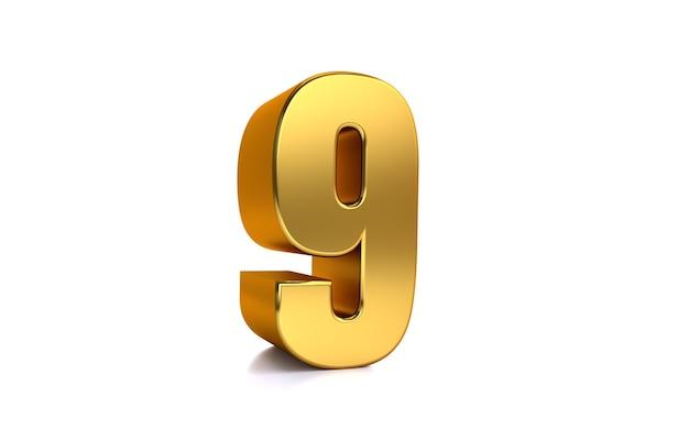 Neun 3d-illustration goldene zahl 9 auf weißem hintergrund und kopienraum auf der rechten seite für text am besten für jubiläumsgeburtstag neujahrsfeier