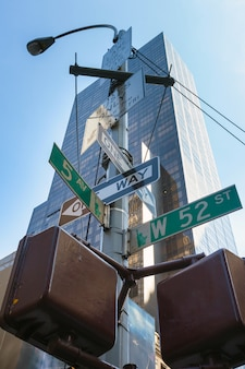 New york city, straßenschild.