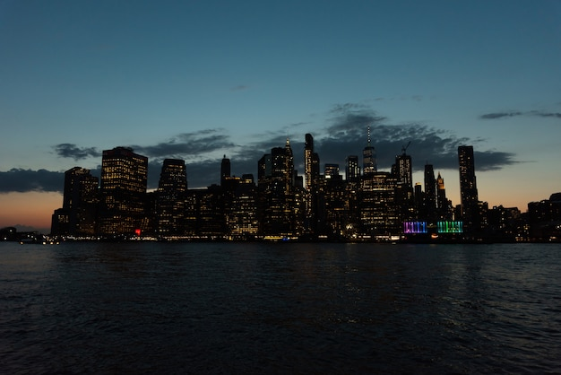 New- york cityskyline nachts