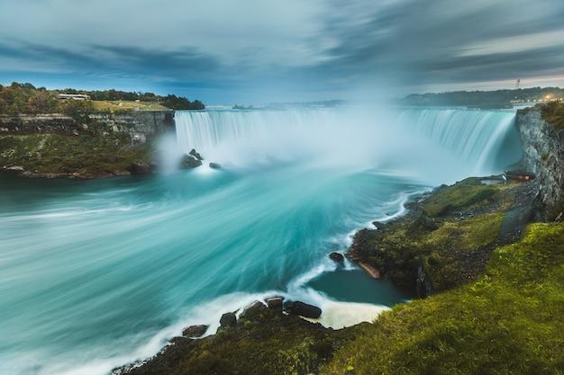 Niagara falls-panoramablick, langzeitbelichtung