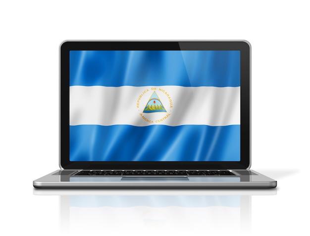 Nicaragua-flagge auf dem laptop-bildschirm, isoliert auf weiss. 3d-darstellung rendern.