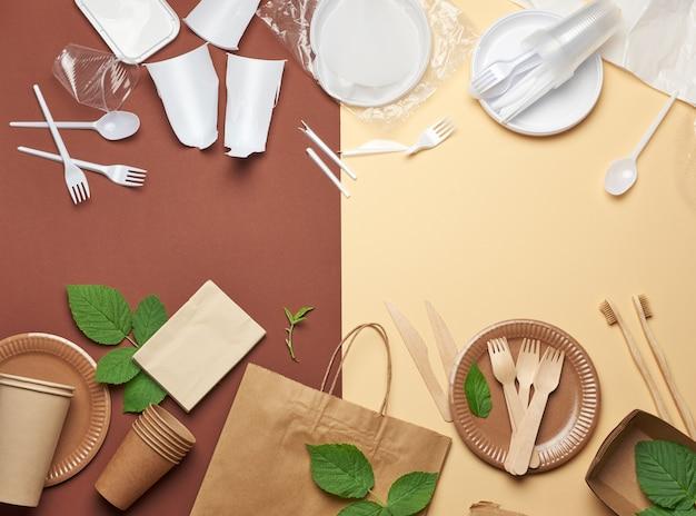 Nicht abbaubarer plastikmüll aus einweggeschirr und eine reihe von geschirr aus recycelten umweltmaterialien