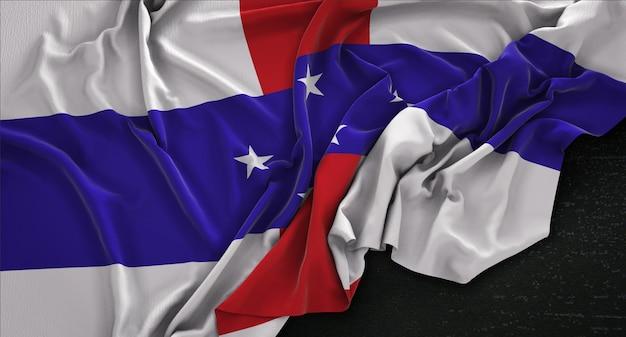 Niederländische antillen flagge auf dunklem hintergrund 3d render