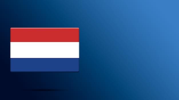 Niederländische flagge auf realistischer plattform