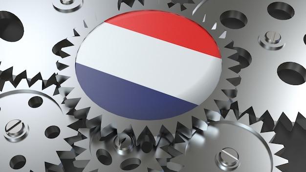 Niederländische flagge mit zahnrädern