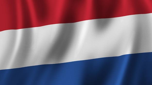 Niederlande fahnenschwingen nahaufnahme 3d-rendering mit hochwertigem bild mit stoffstruktur