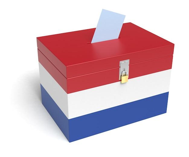 Niederlande wahlurne mit niederländischer flagge. isoliert auf weißem hintergrund.