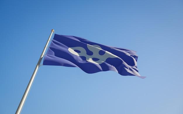 Niederwinkelflagge der präfektur osaka japan. 3d-grafik