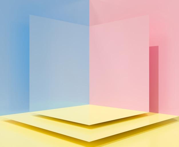 Niedliche 3d-rendering für leere bühnenpodest, sockel, produkt anzeigen. eckwand-hintergrund.