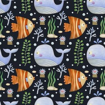 Niedliche aquarell nahtlose muster cartoon unterwasser ozean meerestiere auf einem schwarzen hintergrund wal