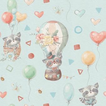 Niedliche cartoon-tiere des nahtlosen musters fliegen in einem heißluftballon