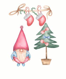 Niedliche gnomeweihnachtskarte nahe dem weihnachtsbaum. satz der aquarellillustration lokalisiert
