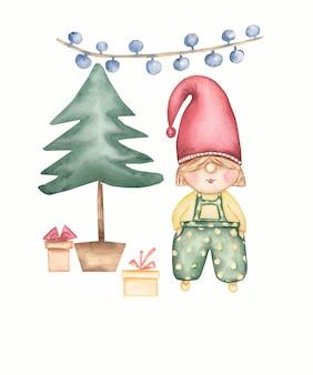 Niedliche gnomeweihnachtskarte und wintergeschenke nahe dem weihnachtsbaum. satz der aquarellillustration lokalisiert