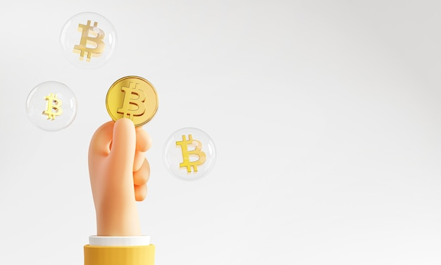 Niedliche hand hält bitcoin bubble copy space 3d-rendering
