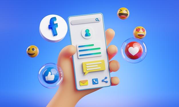 Niedliche hand hält telefon facebook icons rund um 3d-rendering