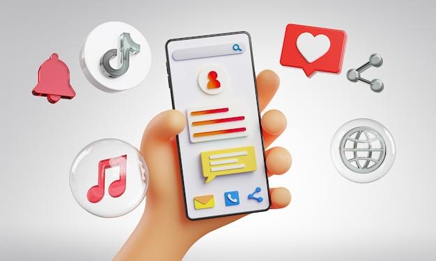 Niedliche hand hält telefon tiktok icons rund um 3d-rendering