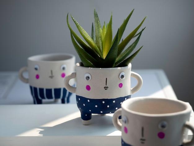 Niedliche keramische pflanzentöpfe mit grüner sukkulente auf weißem tisch an weißer wand. close-up drei kleine moderne diy zement pflanzer trendige dekoration.